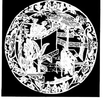 刻纸图案—庭院里的古代人圆形图