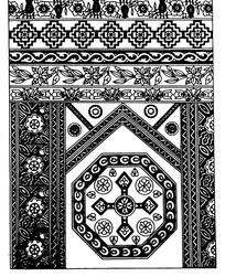 环纹几何纹对称花朵纹卷草纹构成的民族花纹图案