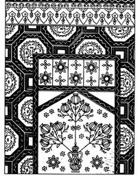 花瓶对称花朵纹连弧纹几何纹构成的民族花纹图案