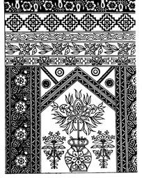 花瓶几何纹对称花朵纹卷草纹构成的民族花纹图案