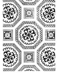 几何纹边框内的花朵纹和对称纹构成的背景