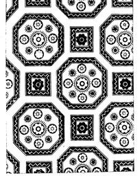 几何纹边框内的花朵纹和米形对称纹构成的背景