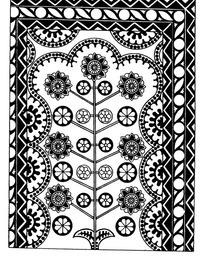 几何纹对称花朵纹连弧纹构成的民族花纹图案