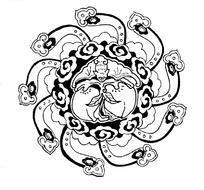 中国传统圆形如意图案矢量素材