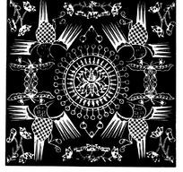 中国古典图案-花朵形和几何形构成的斑驳的方形图案
