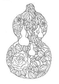 一个画着葫芦图案的葫芦