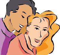 男人贴着长发女人头部