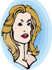手绘美丽的棕发外国美女头部