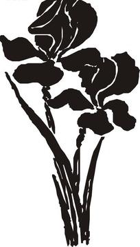 两株花朵黑白矢量图
