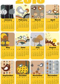 2010年卡通小鸟主题日历矢量素材