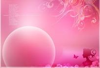 温馨粉红花朵人像圆形边框背景素材