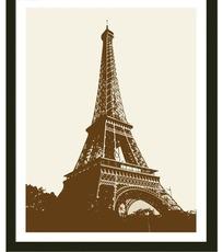 手绘埃菲尔铁塔装饰画
