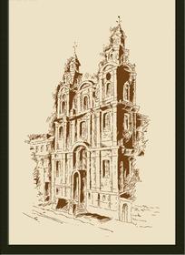 手绘教堂装饰画