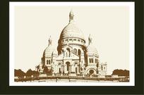 手绘欧洲建筑装饰画