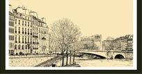 有桥的城市建筑手绘风景画