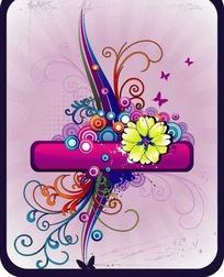 色彩繽紛花紋矢量素材