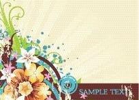 时尚精美花朵卷藤花纹卡片设计