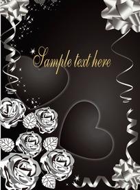 手绘银色花朵和彩带围成的边框