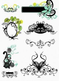 各种类型的精致花纹和边框