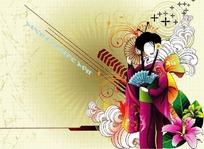 日本女人和精美花朵卷藤花纹背景
