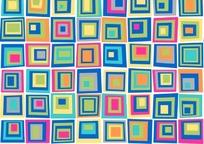 方形构成的绚丽可爱的矢量图案