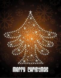 精美褐色雪花背景上银色五角星组成的圣诞树