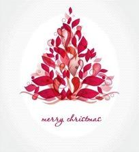 可爱红色叶子组成的圣诞树卡片设计