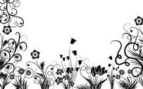 手繪黑色線條的開花植物