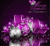 紫色和银色圆球挂饰紫色丝带背景设计