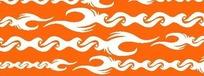 橙色背景上的白色重复图案