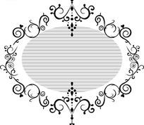 黑色卷草边框和灰色椭圆背景