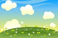 绿色草地芽苗白色云朵