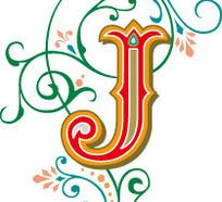 绿色欧式花纹背景花形罗马字母j