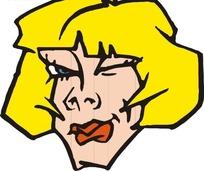 手绘金色短发的女人头部