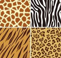 四款不同纹样的流行豹纹平铺图案