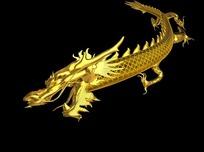 一条舞动的金色中国龙
