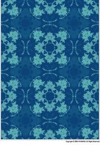 蓝色背景上重复的花朵图案