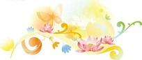 精美粉色莲花和蝴蝶