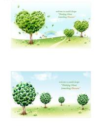 精美浅绿色树和深绿色树的卡片设计