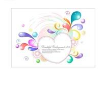 心形边框和彩色花纹