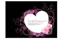 心形边框和精美粉色卷草黑色背景