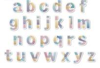 卡通条纹圆点补丁效果英文字母字体设计