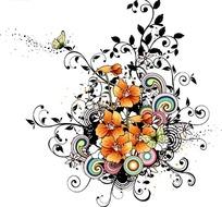 橙色花朵彩色卷草和蝴蝶装饰图案