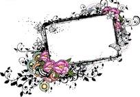 粉色牡丹花和线描花朵蝴蝶装饰的矩形