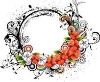 红色花朵和卷草装饰的墨迹圆形