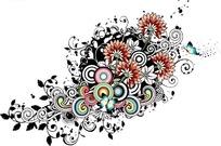 红色花朵蝴蝶和藤蔓装饰底纹