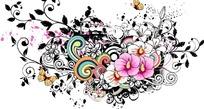 精美粉色花都草色卷草藤蔓蝴蝶底纹