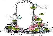 精美荷花荷叶蝴蝶装饰的门
