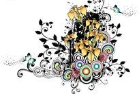 精美花朵蝴蝶彩色圆圈藤蔓图案