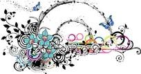 精美花朵蝴蝶装饰的半圆圈